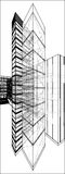 Stads- skyskrapa med den gömda linjen vektor 173 Fotografering för Bildbyråer