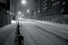 stads- snowscape Royaltyfria Foton