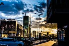 stads- solnedgång Royaltyfri Foto