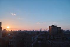 stads- solnedgång Royaltyfria Foton