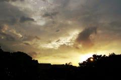 stads- solnedgång Royaltyfri Fotografi