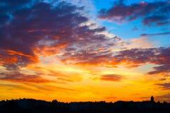 stads- solnedgång Royaltyfria Bilder