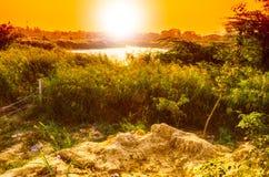Stads- solnedgång Fotografering för Bildbyråer