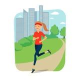 Stads- sportar Ung kvinna som joggar för kondition i staden vektor illustrationer