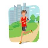 Stads- sportar Ung man som joggar för kondition i staden royaltyfri illustrationer