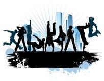 stads- stadsdeltagare vektor illustrationer