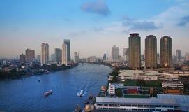 Stads- stadshorisont, Bangkok Thailand Arkivfoton