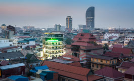 Stads- stadshorisont, Phnom Penh, Cambodja, Asien. Arkivfoton