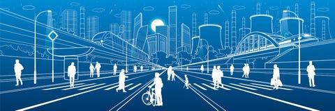 Stads- stadsinfrastrukturillustration Folk som går på gatan modern town Drevflyttning på bron Upplyst huvudväg fabrik stock illustrationer