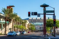 Stads- streetscapes och byggnader i i stadens centrum Phoenix, AZ Arkivbild