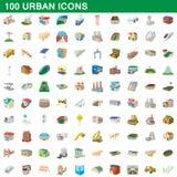 100 stads- symboler uppsättning, tecknad filmstil Royaltyfri Bild
