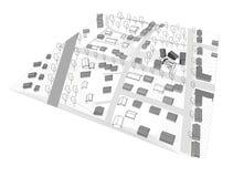 Stads- utrymmen för liten stad i modellen 3D Arkivbild