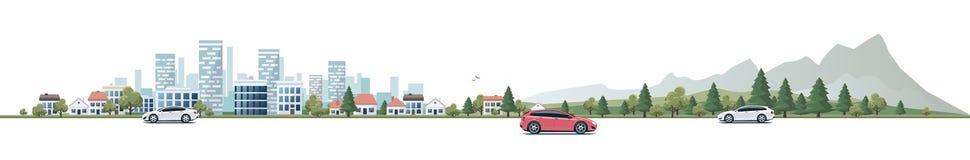 Stads- väg för landskappanoramagata med bilar och stadsnatur B stock illustrationer