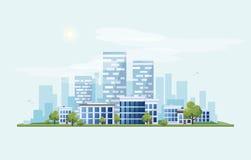 Stads- väg för stadslandskapgata med horisontbakgrund royaltyfri illustrationer