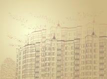 stads- vektor för arkitektonisk bakgrundssepia Arkivbild