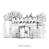 Stads- översiktsfärgpulver skissar av den astronomiska bastionen för porten, Ryssland, Kaliningrad, den ryska gränsmärket, det ha Royaltyfri Bild