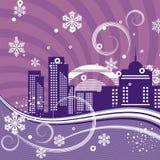 stads- vinter för bakgrundsserie stock illustrationer
