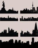 Stads zwarte silhouetten Royalty-vrije Stock Afbeeldingen