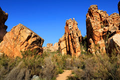 The Stadsaal Caves landscape in the Cederberg, South Africa. The Stadsaal Caves landscape and rocks in the Cederberg, Republic of South Africa Stock Photography
