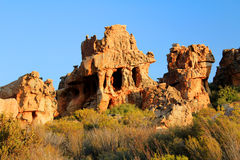 The Stadsaal Caves landscape in the Cederberg, South Africa. The Stadsaal Caves landscape and rocks in the Cederberg, Republic of South Africa Stock Photos