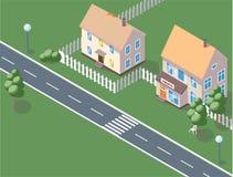 Stadsachtergrond - de moderne vlakke vectorillustratie van de ontwerpstijl op witte achtergrond Mooie huisvesting complex met kle vector illustratie
