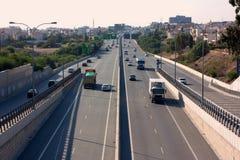 stadsavståndshuvudväg Arkivfoto
