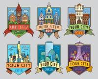 Stadsbadges1 kleur Stock Afbeeldingen