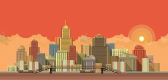 Stadsbakgrundsafton vektor illustrationer