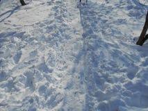 Stadsbana mellan en snödriva Royaltyfri Bild