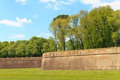 stadsbefästninglucca vägg royaltyfri fotografi