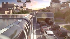 Stadsbuss av framtiden Trafikstockningen skjuten solnedgångtid för exponering long illustration 3d royaltyfri illustrationer