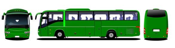 Stadsbuss Turist- lagledare Frontal vektor illustrationer