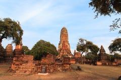 Stadsbyggnad återstår, Buddhastatyn av Phra som Ram Temple (Wat Phra Ram) fördärvar i landskap av Ayutthaya, Thailand Fotografering för Bildbyråer