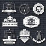 Stadsbyggnader märker mallen av emblembeståndsdelen för din produkt eller design, rengöringsduken och mobilapplikationer med text Fotografering för Bildbyråer