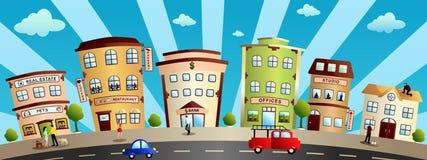 Stadsbyggnader och shoppar tecknad filmillustrationen royaltyfri illustrationer