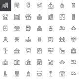 Stadsbyggnader och trans.linje symbolsuppsättning vektor illustrationer