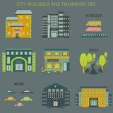 Stadsbyggnader och transportuppsättning Royaltyfri Illustrationer