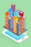 Stadsbyggnader på den smarta telefonen - översiktsbegrepp Royaltyfri Illustrationer