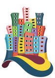 Stadsbyggnadsillustration royaltyfri illustrationer