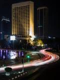 Stadscentrum van Djakarta bij Nacht Royalty-vrije Stock Fotografie