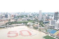stadscityscapeflod singapore Royaltyfria Foton