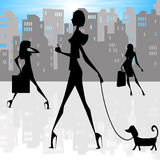 stadsdamtoalettsilhouettes Royaltyfria Bilder