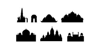 stadsdelhi india landmarks royaltyfri illustrationer