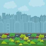 Stadsdesign byggnadssymbol Färgrik illustration, vektor Arkivbilder