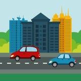 Stadsdesign byggnadssymbol Färgrik illustration, vektor Arkivfoto