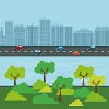 Stadsdesign byggnadssymbol Färgrik illustration, vektor Arkivbild