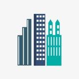Stadsdesign byggnadssymbol Isolerad illustration, redigerbar vektor Fotografering för Bildbyråer
