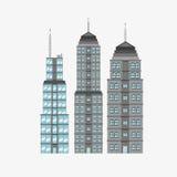 Stadsdesign byggnadssymbol Isolerad illustration, redigerbar vektor Arkivfoton