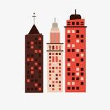 Stadsdesign byggnadssymbol Isolerad illustration, redigerbar vektor Arkivfoto