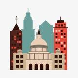Stadsdesign byggnadssymbol Isolerad illustration, redigerbar vektor Arkivbilder